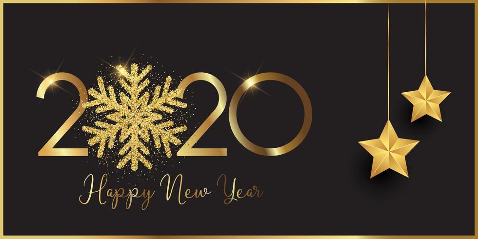 Bannière de bonne année avec flocon de neige scintillant et étoiles suspendues vecteur