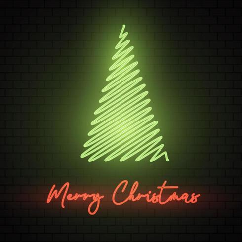 Neon Christmas Tree Sign vecteur