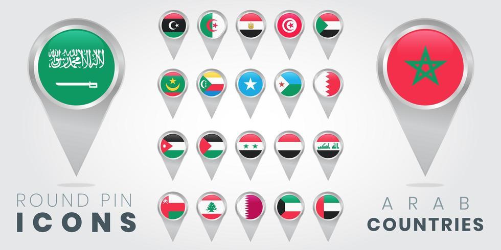 Icônes d'épingles rondes de drapeaux des pays arabes vecteur