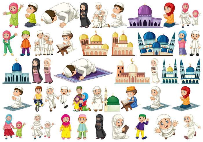 Ensemble de personnages musulmans vecteur