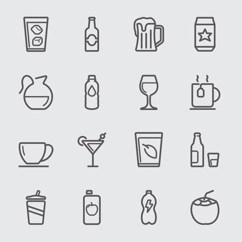 Icône de ligne de boisson vecteur