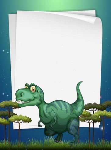 Conception de bordure avec T-Rex sur le terrain vecteur