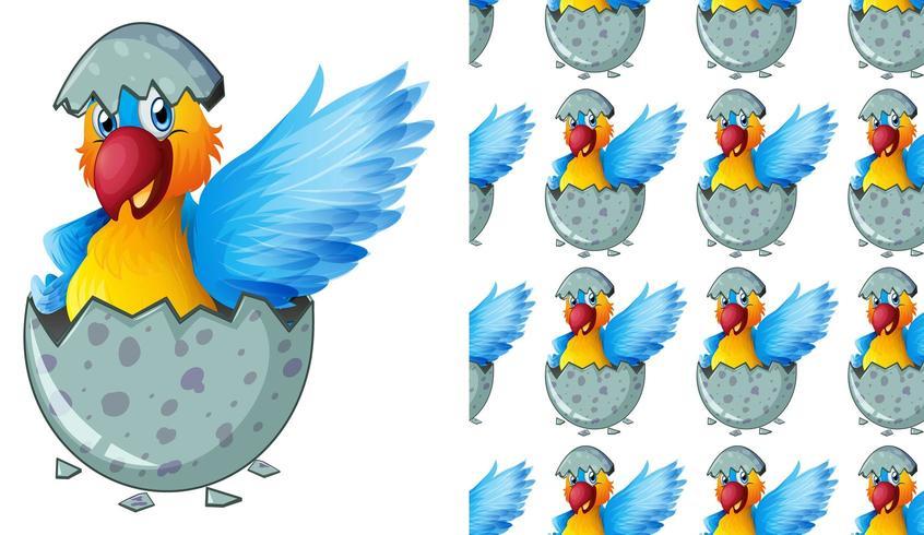 Oiseau sans couture et isolé en forme d'oeuf vecteur
