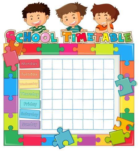 Modèle de calendrier scolaire avec enfants et bordure de pièce de puzzle vecteur