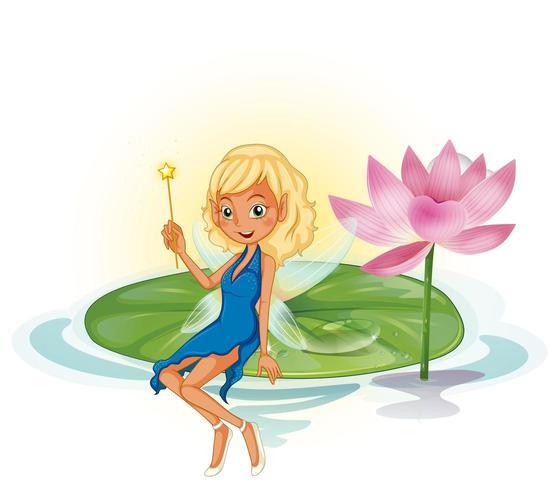 Fée et lotus vecteur