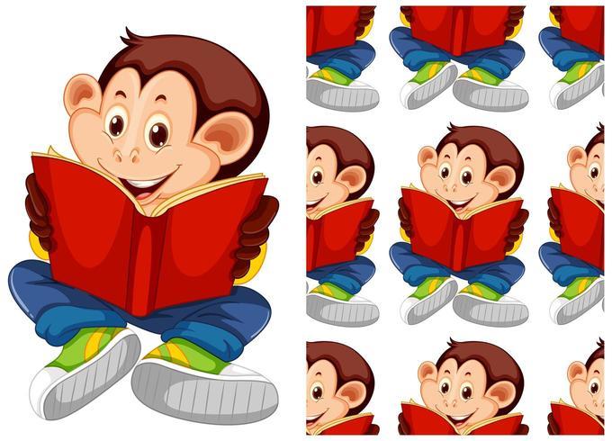 Motif de livre de lecture de singe sans couture et isolé vecteur