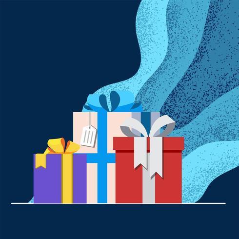 Boîte de cadeaux avec fond bleu vecteur