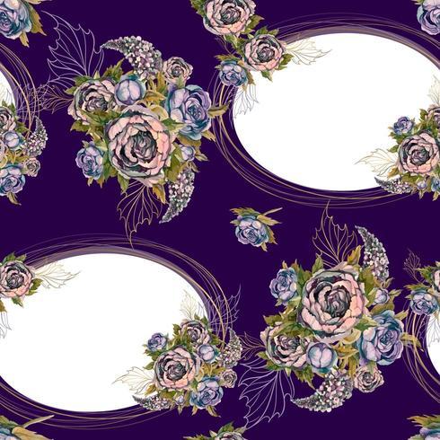 Modèle sans couture avec des cadres d'or et des bouquets de fleurs. vecteur