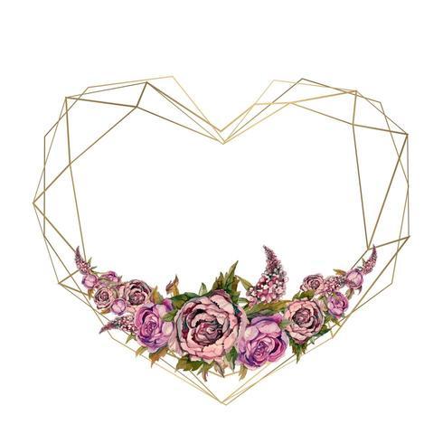 Le cadre est le coeur des fleurs à l'aquarelle. Valentine, invitation de mariage. vecteur