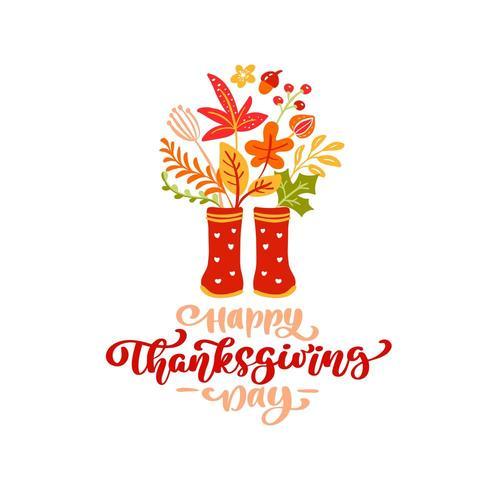 Calligraphie de vecteur lettrage texte Happy Thanksgiving