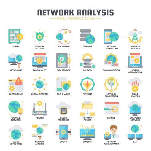 Icônes plates d'analyse de réseau vecteur