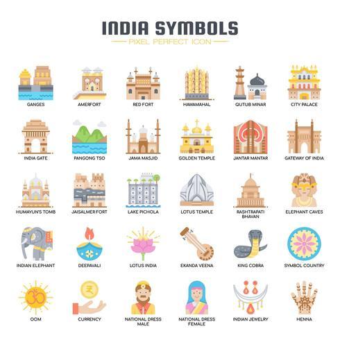 Symboles d'Inde icônes de couleur plate vecteur