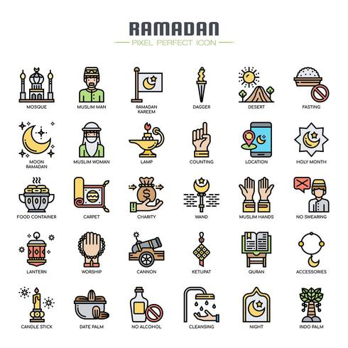 Ramadan Elements Thin Line Icons de couleur vecteur