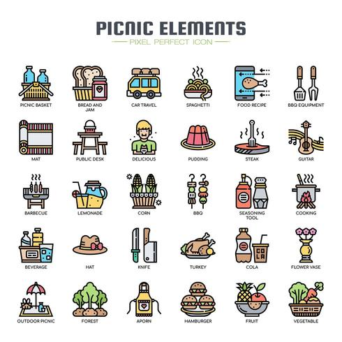 Picnic Elements Thin Line Icons de couleur vecteur