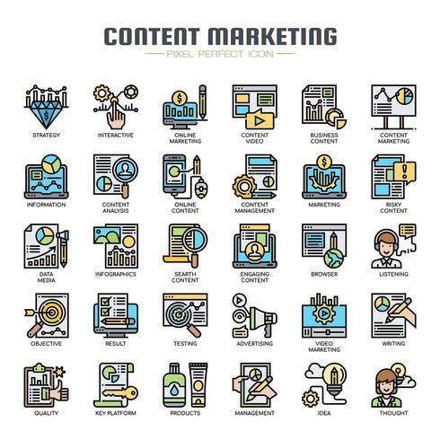 Contenu marketing icônes de la ligne mince vecteur