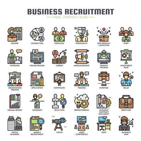 Business Recruitment Thin Line Icons de couleur vecteur