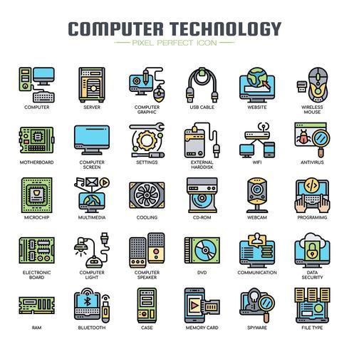 Icônes de fine ligne de technologie informatique vecteur
