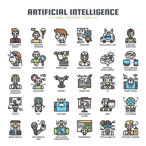 Intelligence Artificielle Thin Line Icons vecteur