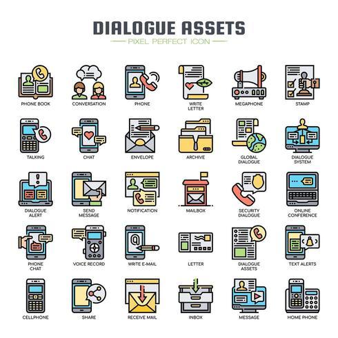 Actifs de dialogue Thin Line Icons vecteur