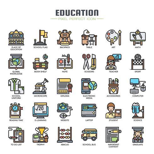 icônes de fine ligne d'éducation vecteur