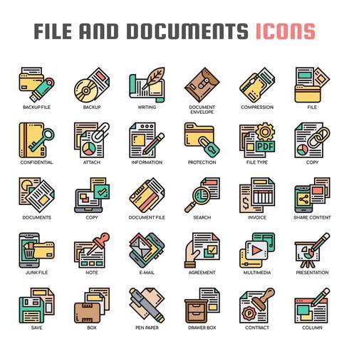 Icônes de lignes minces de fichiers et de documents vecteur