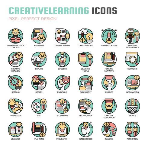 Apprentissage créatif Thin Line Icons vecteur