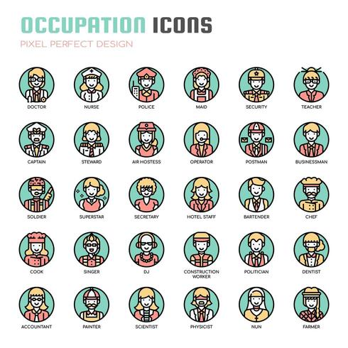 Occupation Thin Line Icons vecteur