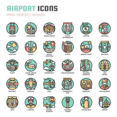Icônes de lignes fines d'aéroport vecteur