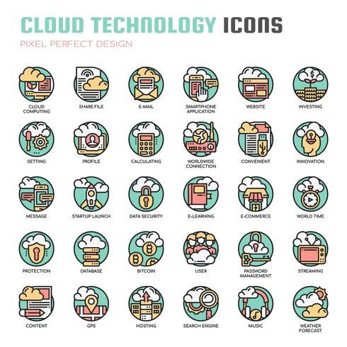 Icônes de fine ligne de technologie Cloud vecteur