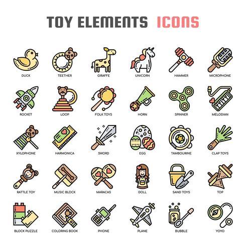 Toy Elements Thin Line Icônes de couleur vecteur