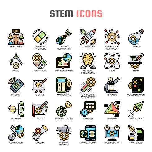 STEM Thin Line Color Icons vecteur