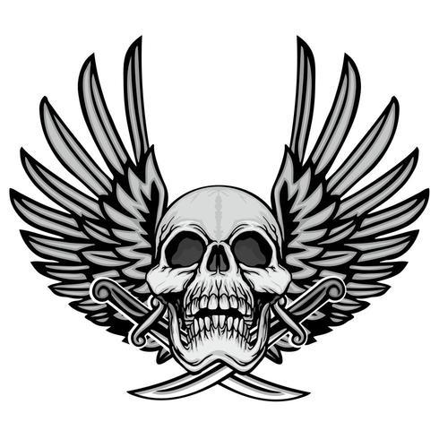 armoiries du crâne grunge avec des ailes vecteur