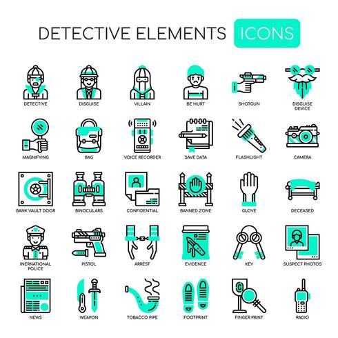 Icônes de détective Thin Line Icons vecteur