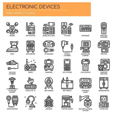 Dispositifs électroniques Thin Line Icons vecteur