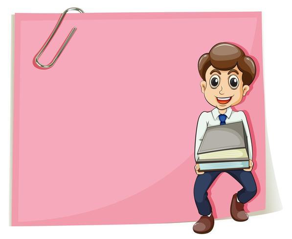 Un papier vide rose avec un homme d'affaires portant certains documents vecteur