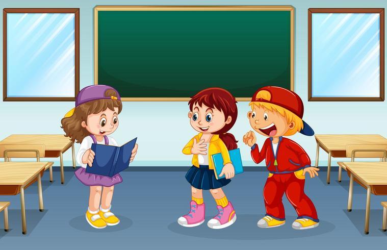 Des étudiants discutant dans une salle de classe vide vecteur