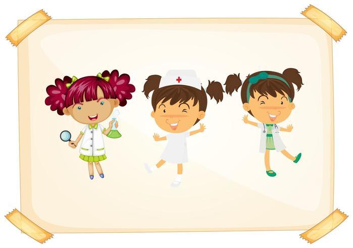 Médecin et infirmière sur papier collé vecteur
