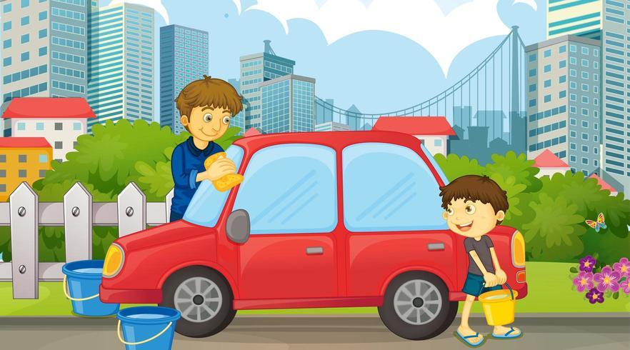 Père et fils, voiture de nettoyage vecteur