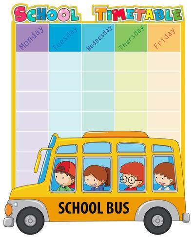Modèle de calendrier scolaire avec bus et enfants vecteur