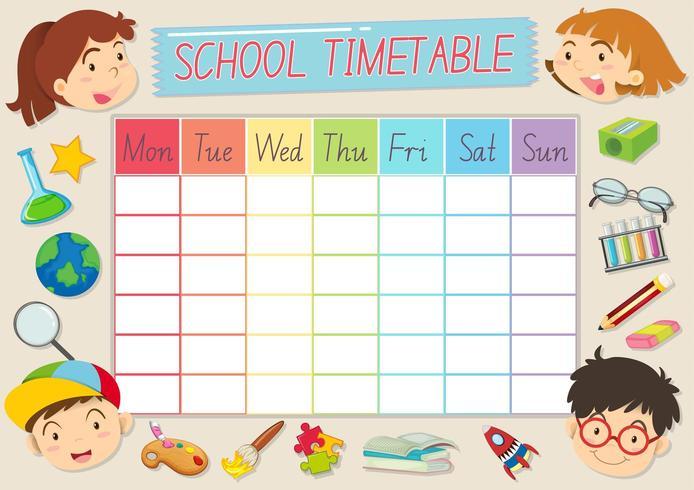Modèle de calendrier scolaire avec les élèves et les fournitures scolaires vecteur