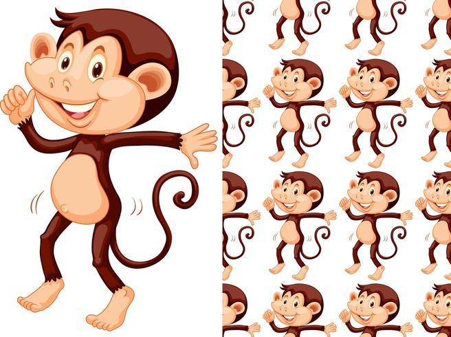Modèle de marche de singe sans couture et isolé vecteur