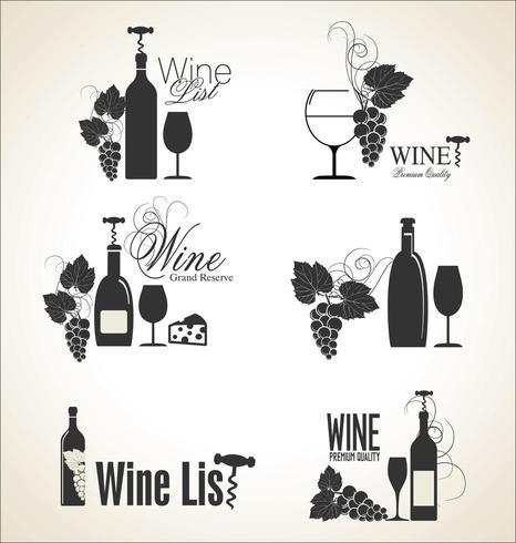 Étiquettes de vin élégantes vecteur