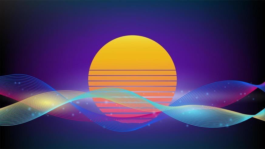 Lignes colorées de formes dynamiques géométriques avec vintage rétro soleil vecteur