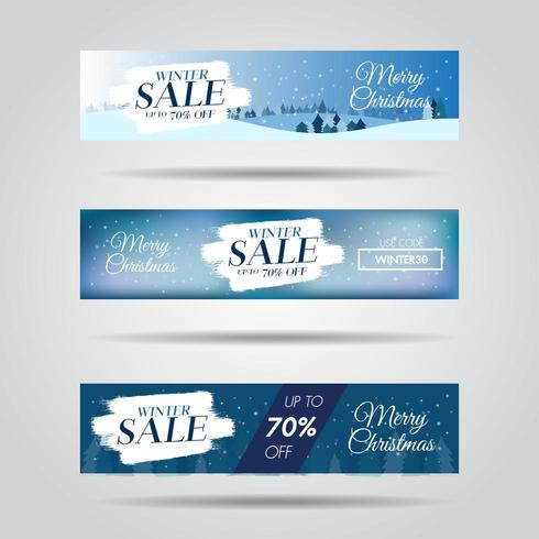 Ensemble de bannières de vente design hiver avec fond de texte et de flocon de vente vecteur