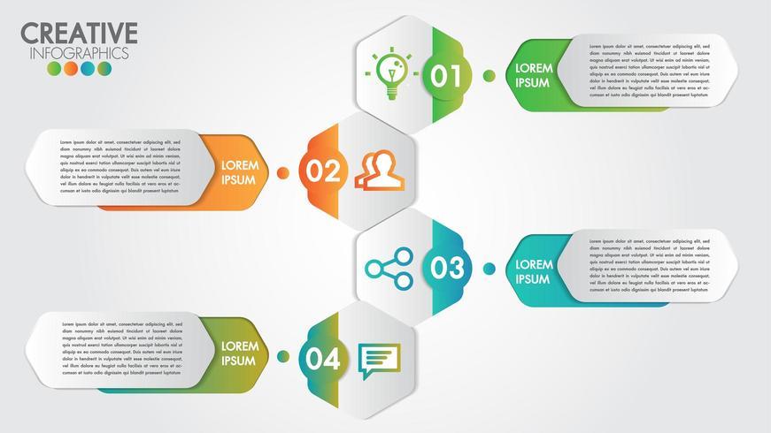 Infographie avec un design moderne pour les entreprises avec 4 étapes ou options vecteur