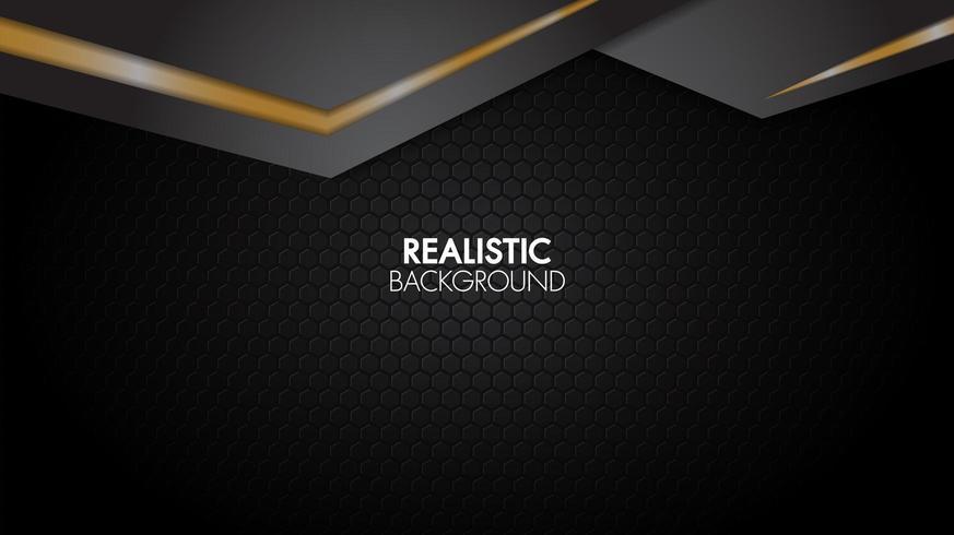 Toile de fond en papier superposé géométrique noir et or vecteur