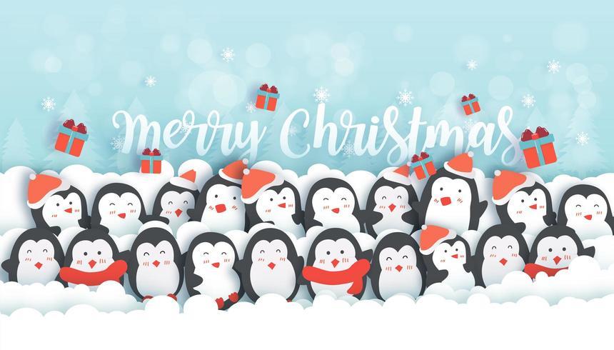 Fond de Noël avec des pingouins mignons. vecteur