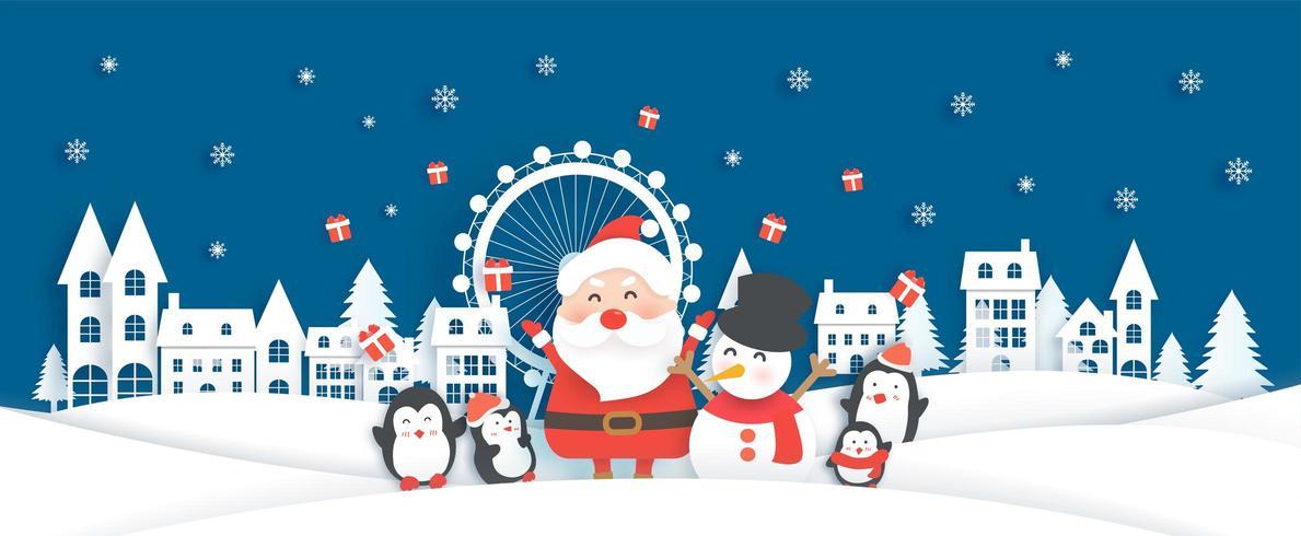 Bannière de Noël avec Père Noël et animaux mignons dans le village de neige vecteur