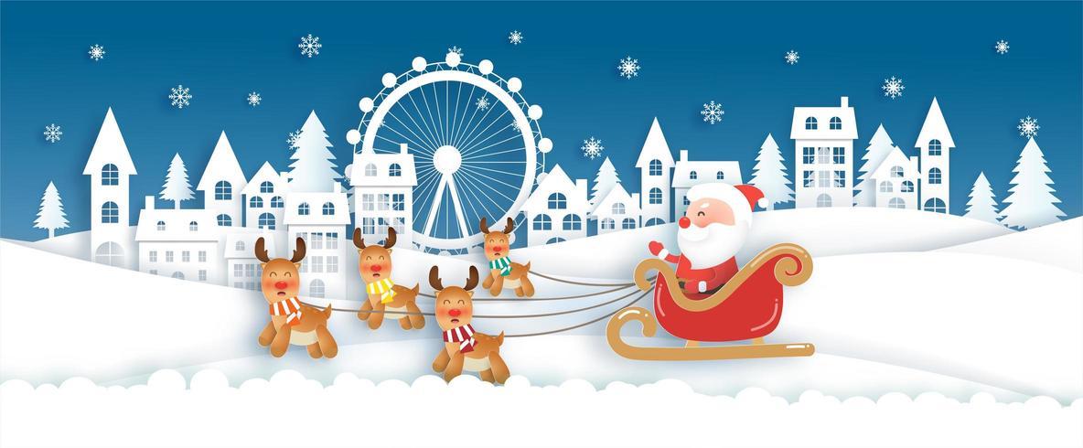 Père Noël et joli renne dans le village de neige. vecteur