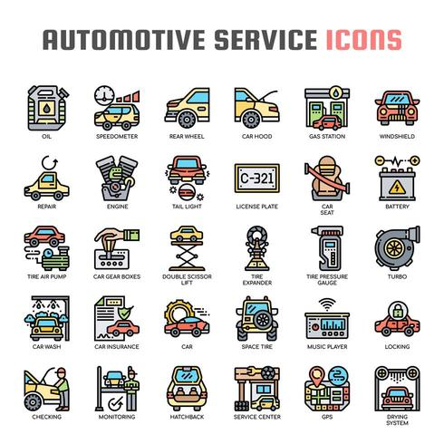 Icônes de fine ligne de service automobile vecteur